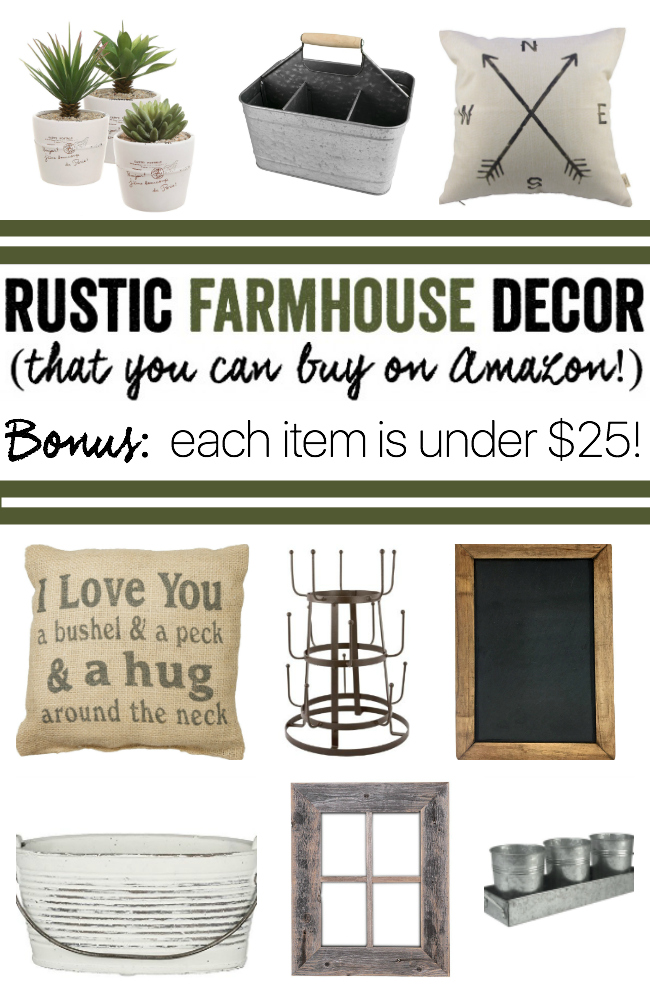 Rustic Farmhouse Decor Under $25 (that you can buy on Amazon!)