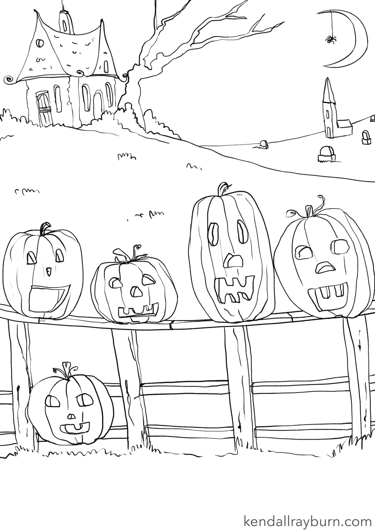 5 Little Pumpkins Coloring Sheet - #ColoringwithKR