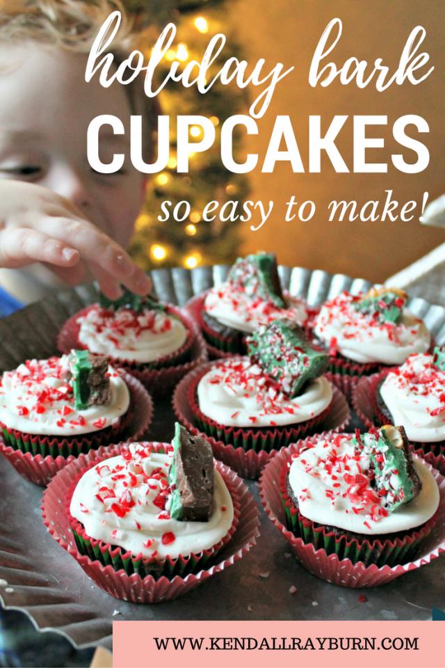 Holiday Bark Cupcakes