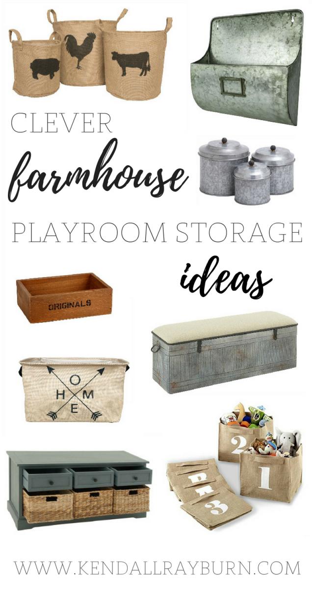 Farmhouse Playroom Storage