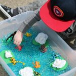 Frog Sensory Bin + DIY Lily Pads & Cattails