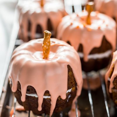 Mini Pumpkin Bundt Cakes with Cheesecake Filling