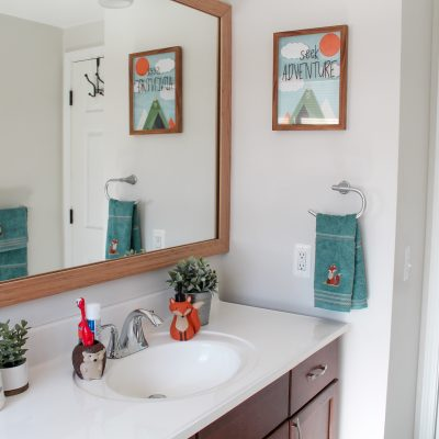 Budget-Friendly Woodland Themed Kids Bathroom Makeover